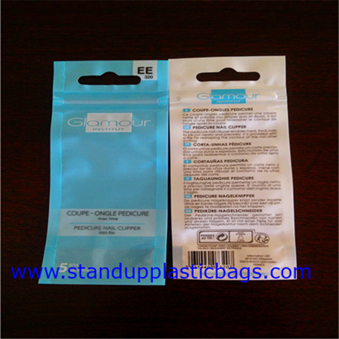 Flat color Printed PET laminate Resealable Plastic Ziplock Bags for Cosmetics products